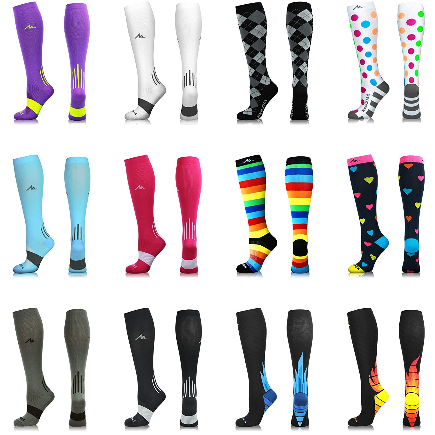 9bf06c0ff3 Amazon.com: NEWZILL Compression Socks (20-30mmHg) for Men & Women - Best  Stockings for Running, Medical, Athletic, Edema, Diabetic, Varicose Veins,  Travel, ...