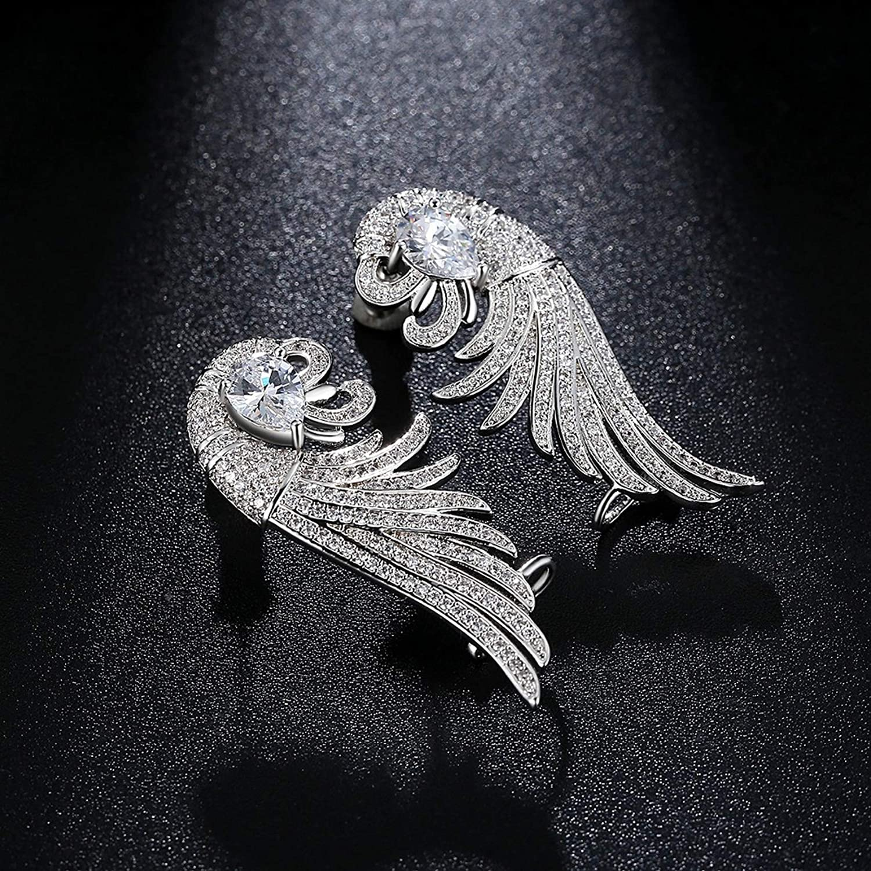 CS-DB Silver Brilliant CZ Micro Paved Elegand Secular Bird Big Stud Charm Earrings
