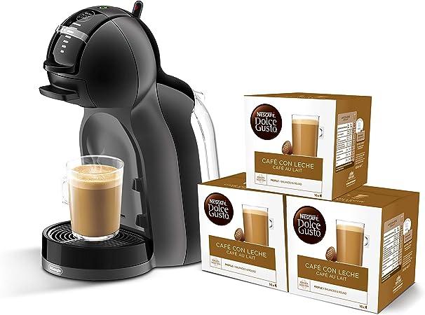 Pack DeLonghi Dolce Gusto Mini Me EDG305.BG - Cafetera de cápsulas, 15 bares de presión, color negro y gris + 3 packs de café Dolce Gusto Con Leche: Amazon.es: Hogar