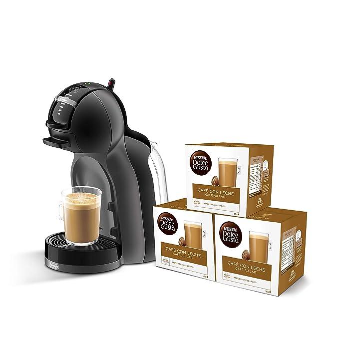 BG - Cafetera de cápsulas, 15 bares de presión, color negro y gris + 3 packs de café Dolce Gusto Con Leche: Amazon.es: Hogar
