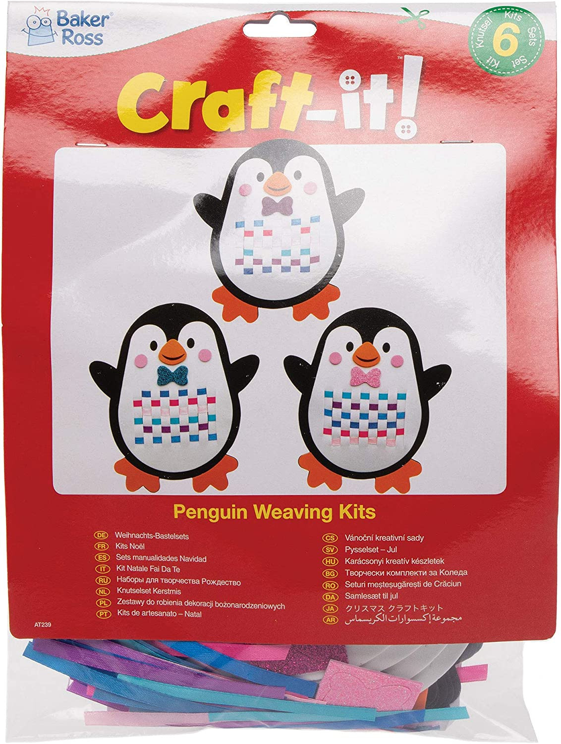 -Christmas Arts and Crafts Pack of 6 Baker Ross AT239 Penguin Weaving Kits Assorted
