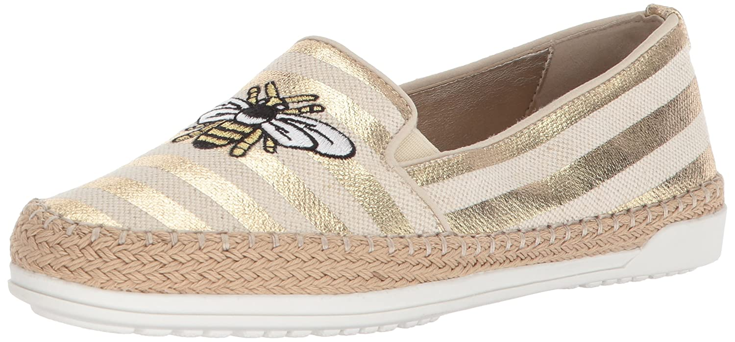 Anne Klein Women's Zarenna Slip Ballet Flat B078NM4MWR 6.5 B(M) US|Gold Natural Fabric