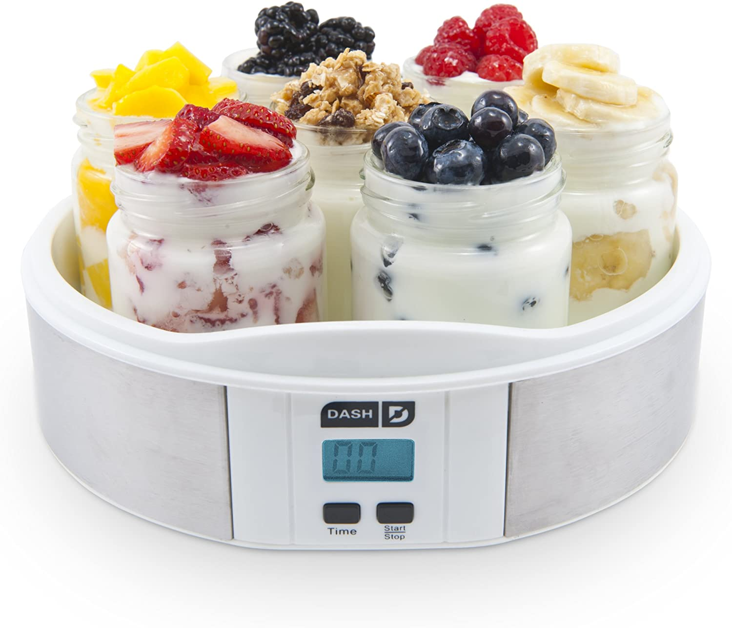 Dash Yogurt Maker Machine with Stainless Steel Base, Digital Display, Auto Timer 7 Jars 8oz glass jars with BPA Free Lids Perfect for Homemade Baby Yogurt, Kids Yogurt, or Grab and Go Breakfast
