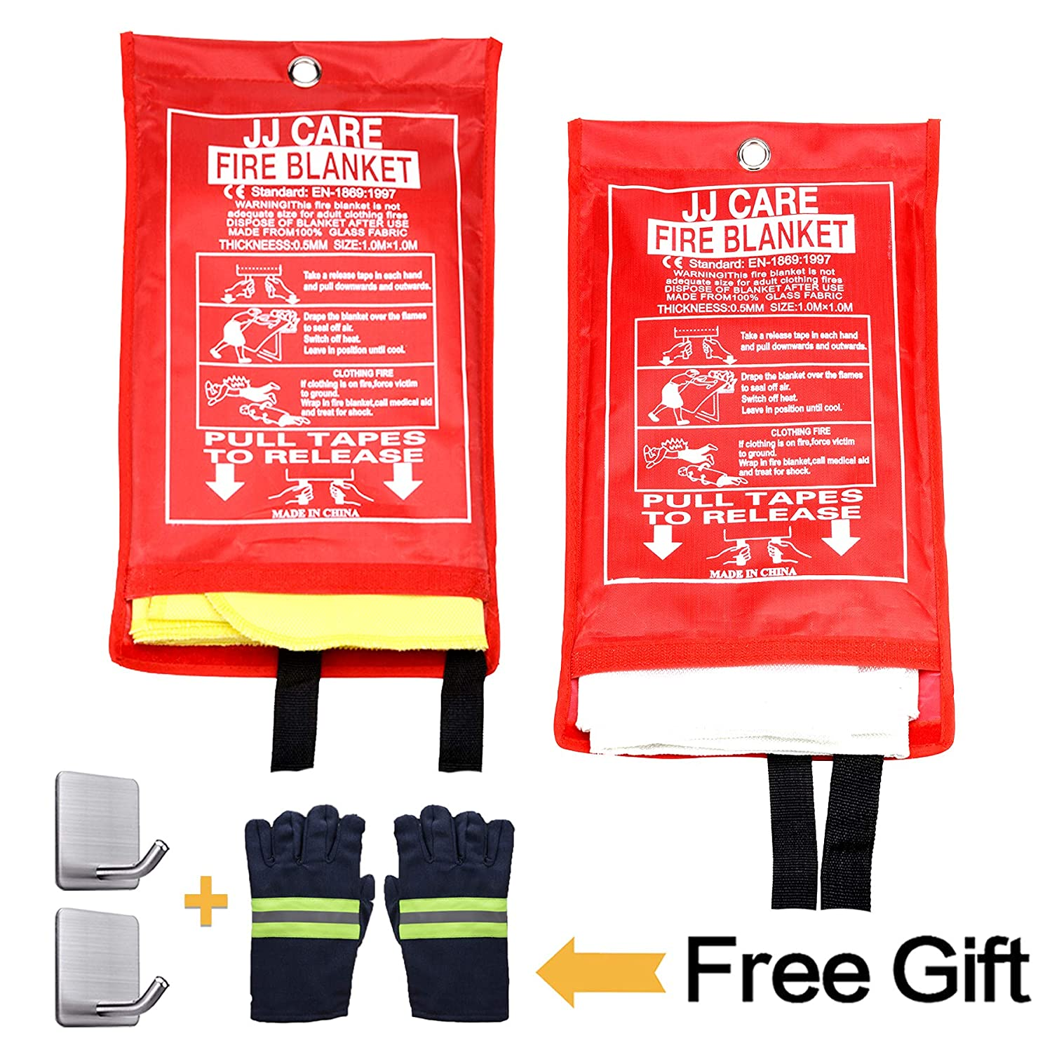 """Fire Blanket Fire Suppression Blanket Made from Silica Cloth Grilling Suitable for Camping JJ CARE Car and Fireplace Fire Retardant Blanket for Emergency 40/""""x40/"""" Upgraded Kitchen Safety"""