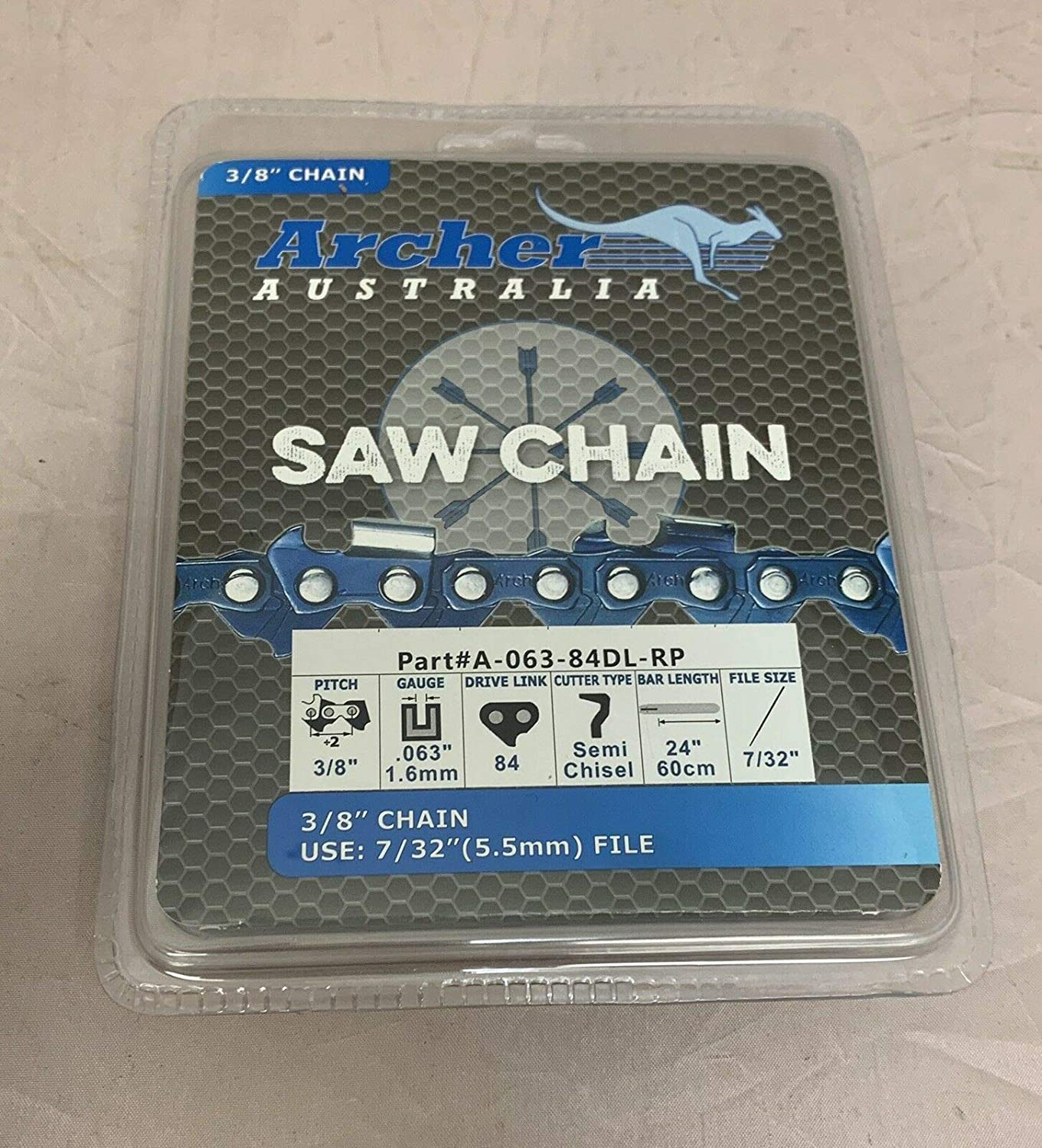 """2 Pack 24/"""" Archer Chainsaw Chain 3//8/"""" FULL CHISEL .063 Gauge 84 DL drive links"""