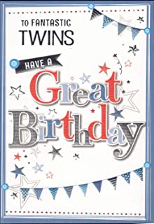 Claire Giles Hearts And Stars Happy Birthday Twins Card Amazonco