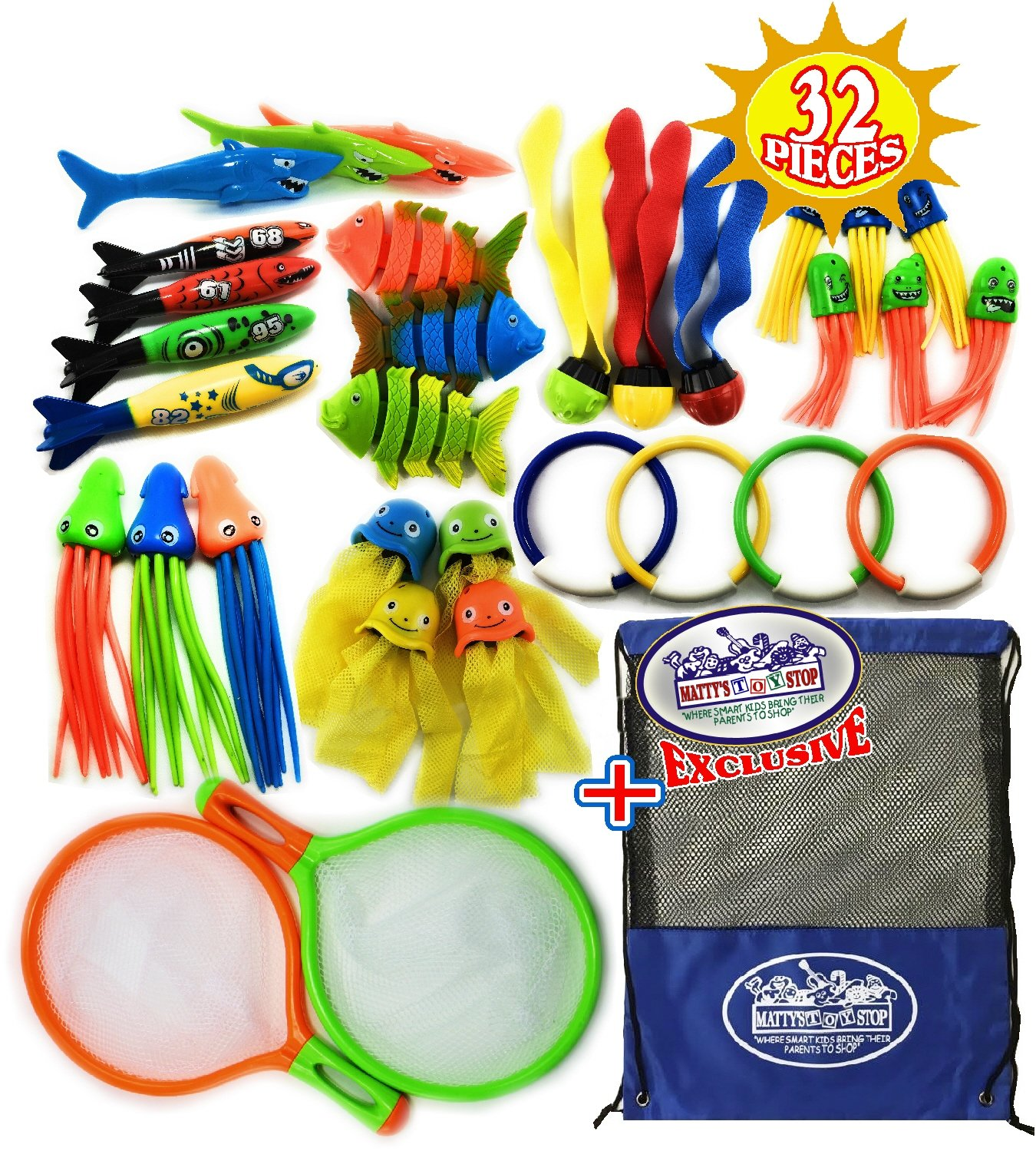 Matty's Toy Stop 32 Piece Ultimate Dive Set for Diving/Swimming Pools Featuring Dive Rings, Balls, Fish, Torpedo, Shark, Octopus, Jellyfish, Fishing Nets & Bonus Storage Bag