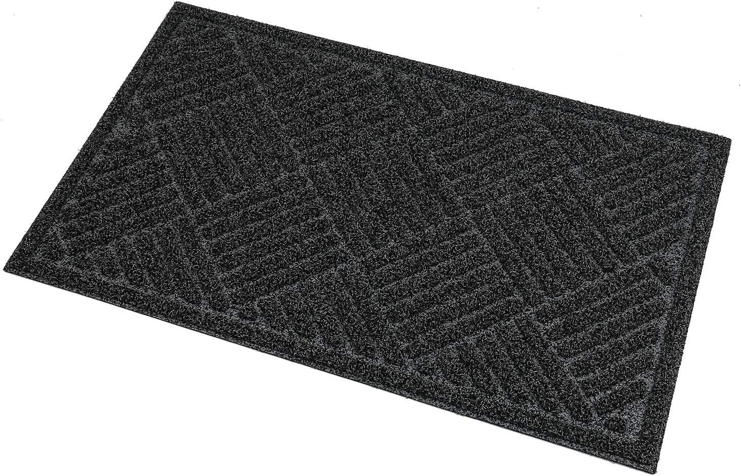 U'Artlines Doormat Artificial Turf Durable Anti-Slip Rubber Back Entrance Door Mat Shoe Mud Scraper Outdoor(Dark Grey Diamond) Dark Grey
