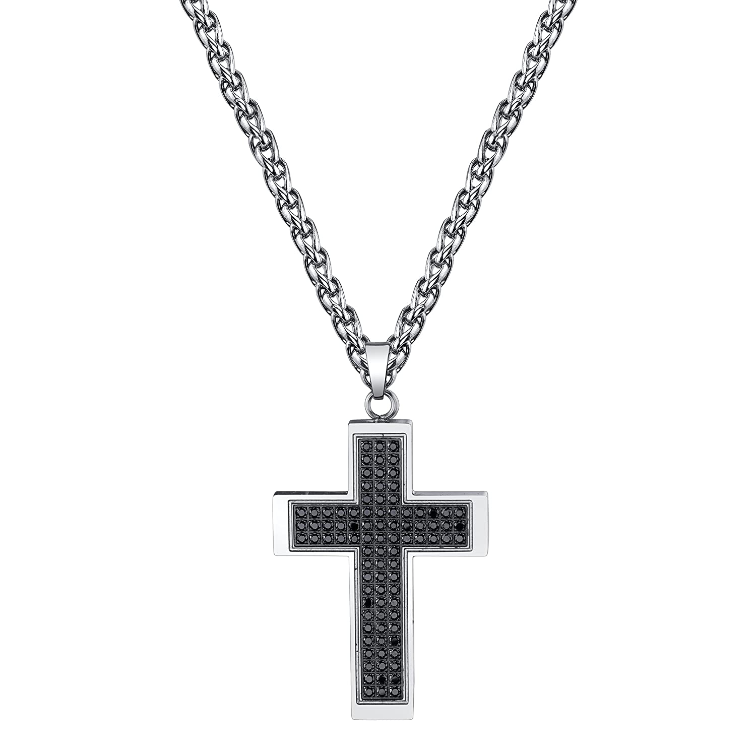 Spartan Men's Cross With Black Cubic Zirconia