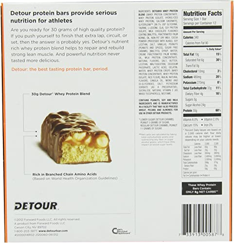 Detour Lower Sugar Whey Protein Bar, Caramel Peanut, 3 Ounce Pack of 12