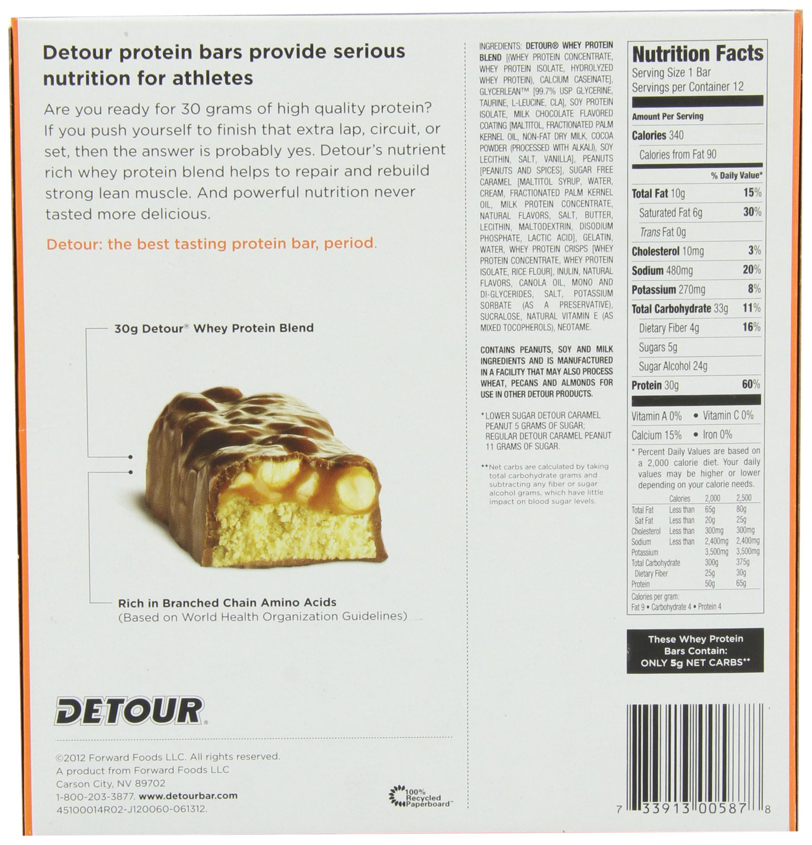 Detour Lower Sugar Whey Protein Bar, Caramel Peanut, 3 Ounce (Pack of 12) by Detour