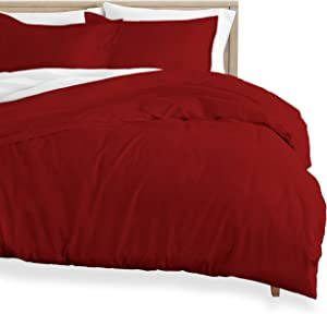 Bare Home Flannel Duvet Cover - Full/Queen - 100% Cotton, Velvety Soft Heavyweight Premium Flannel, Double Brushed - Includes Sham Pillow Covers (Full/Queen, Red)