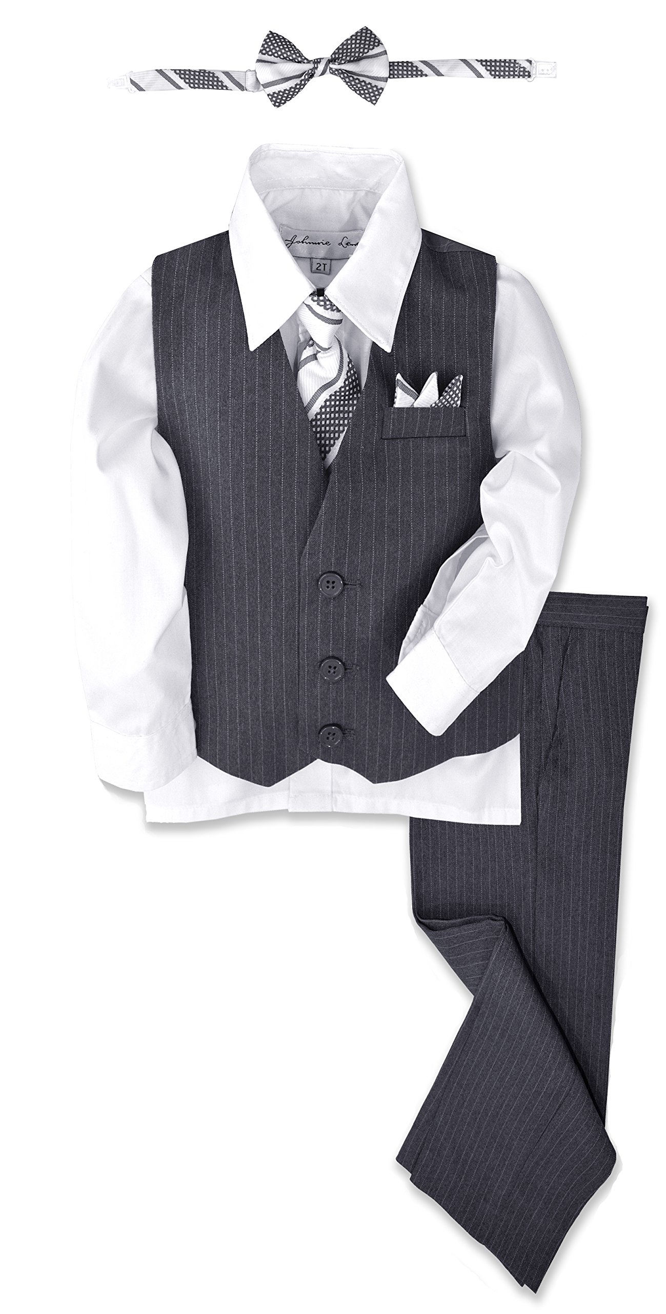 JL40 Pinstripe Boys Formal Dresswear Vest Set (5, Gray/White)