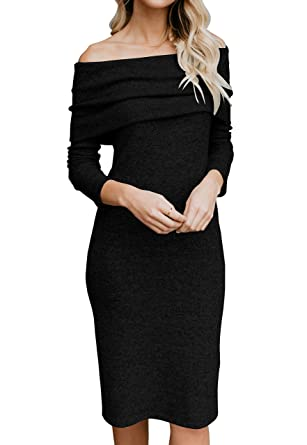 979034a8b74 Fashare Womens Off The Shoulder Sweater Dress Knit Sexy Bodycon Pencil  Party Dresses