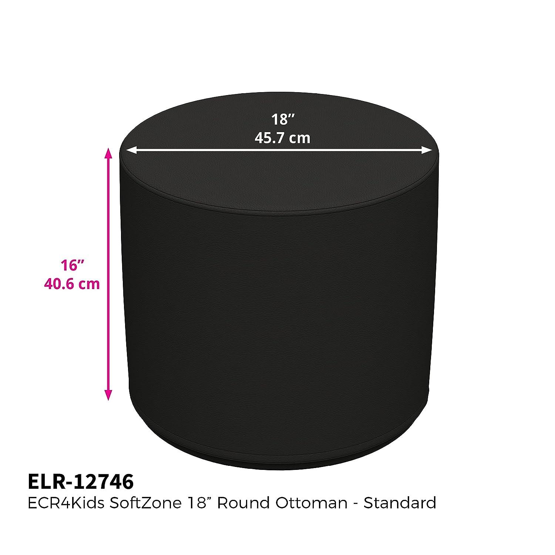 Black Standard 16 H, 2-Piece Set ECR4Kids Softzone 18 Round Ottoman Furniture for Kids