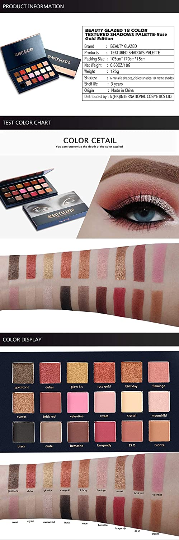 Eye Shadow Beauty Glazed 18 Color Eyeshadow Palette Glamorous Smokey Eye Shadow Shimmer Makeup Kit Makeup Palette Shimme Professional Long