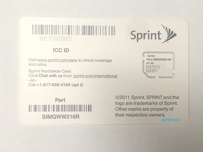 Amazon.com: Sprint limpiar Micro iccid tarjeta SIM ...