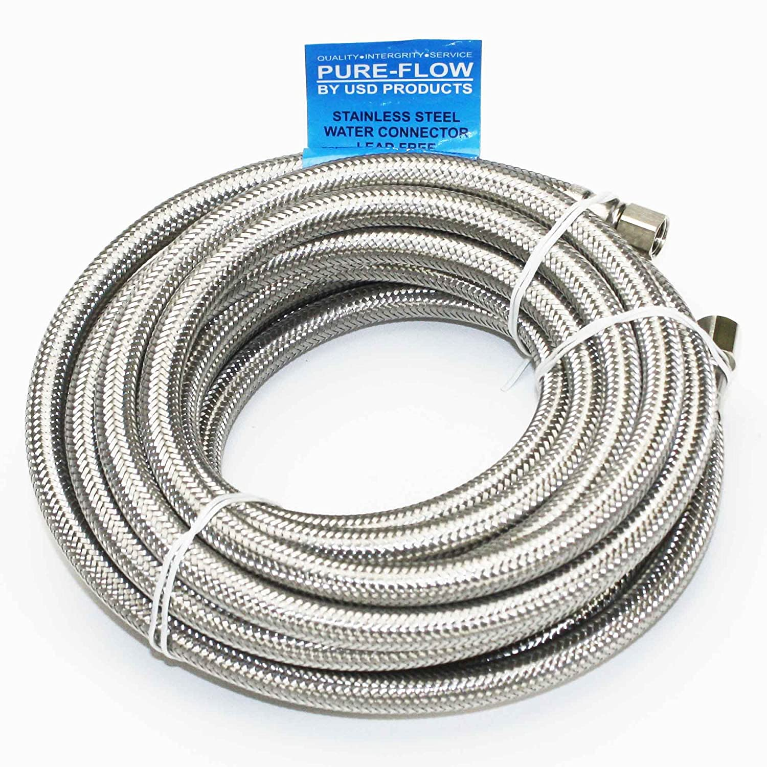 "Universal Stainless Steel Braided Water Line | 20' Length | 1/4"" Connection"