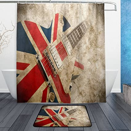 WOZO Vintage Guitar Music British Flag Polyester Fabric Bathroom Shower Curtain 60 X 72 Inch With