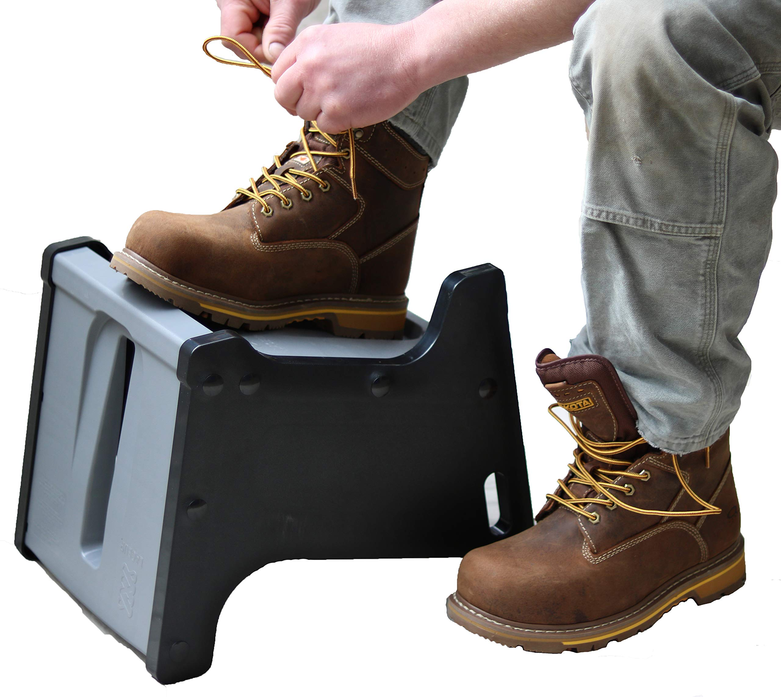 LACEUP Practice Good Ergonomics, Sock Aid & Shoe Assist Device Helps Elderly, Kids, Pregnant Women, Athletes & People with Limited Mobility. Non-Slip Shoe Block with 2 Sitting and Standing Heights. by LACEUP