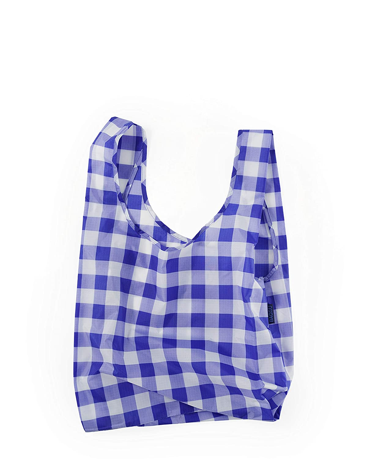 BAGGU Standard Reusable Shopping Bag, Ripstop Nylon Grocery Tote or Lunch Bag, Big Check Blue