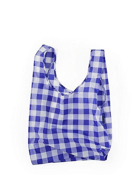 c1a7da134fe BAGGU Standard Reusable Shopping Bag, Ripstop Nylon Grocery Tote or Lunch  Bag, Big Check Blue