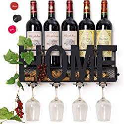 HOME Wine Bottle and Wine Glass Holder