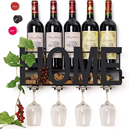 Wall Mounted Metal Relax Glass and Bottle Holder Wine Cork Storage 4 RackNEW