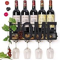 SODUKU - Estante de metal para vino, 4 soportes para copas con tallo largo y espacio para corchos de vino