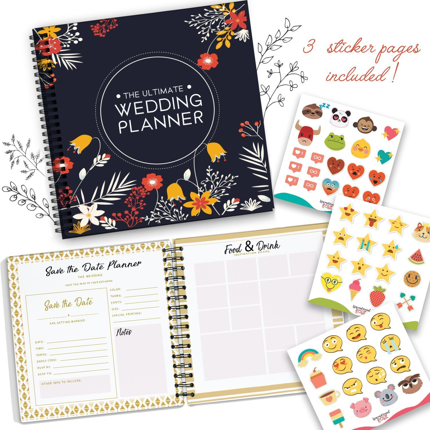 The Ultimate Wedding Planner – A Complete 80 Pages Hardcover Organizer that Includes Checklists, Party Planner, Budget Organizer, Honeymoon and More to Help You Organize The Wedding of Your Dreams! by Unconditional Rosie (Image #3)