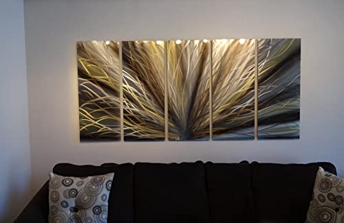 Miles Shay Metal Wall Art, Modern Home Decor, Abstract Wall Sculpture- Gold Bronze Radiance