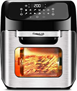 Elegant Life Air Fryer 13Qt Air Fryer Oven 10 in 1 Rotisserie Large Toast Oven Including 8 Cooking Accessories and Recipe with 9 Presets, Reheat, Preheat & Defrost Function