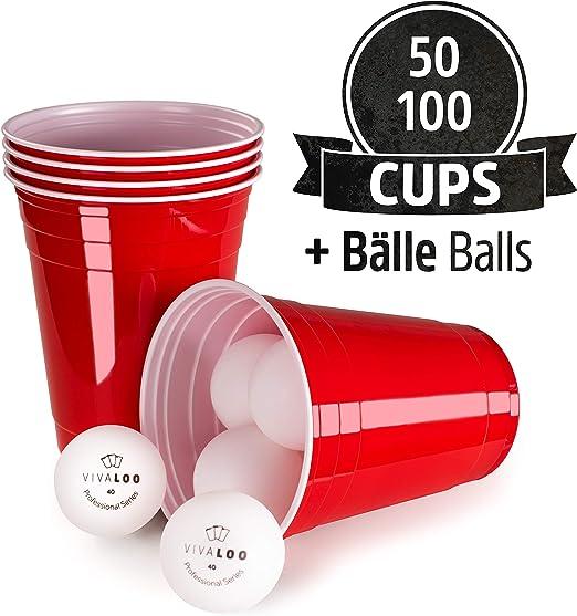 50 Unidades + 6 Pelotas | Vasos De Plástico | Vasos Rojos Y Duros ...
