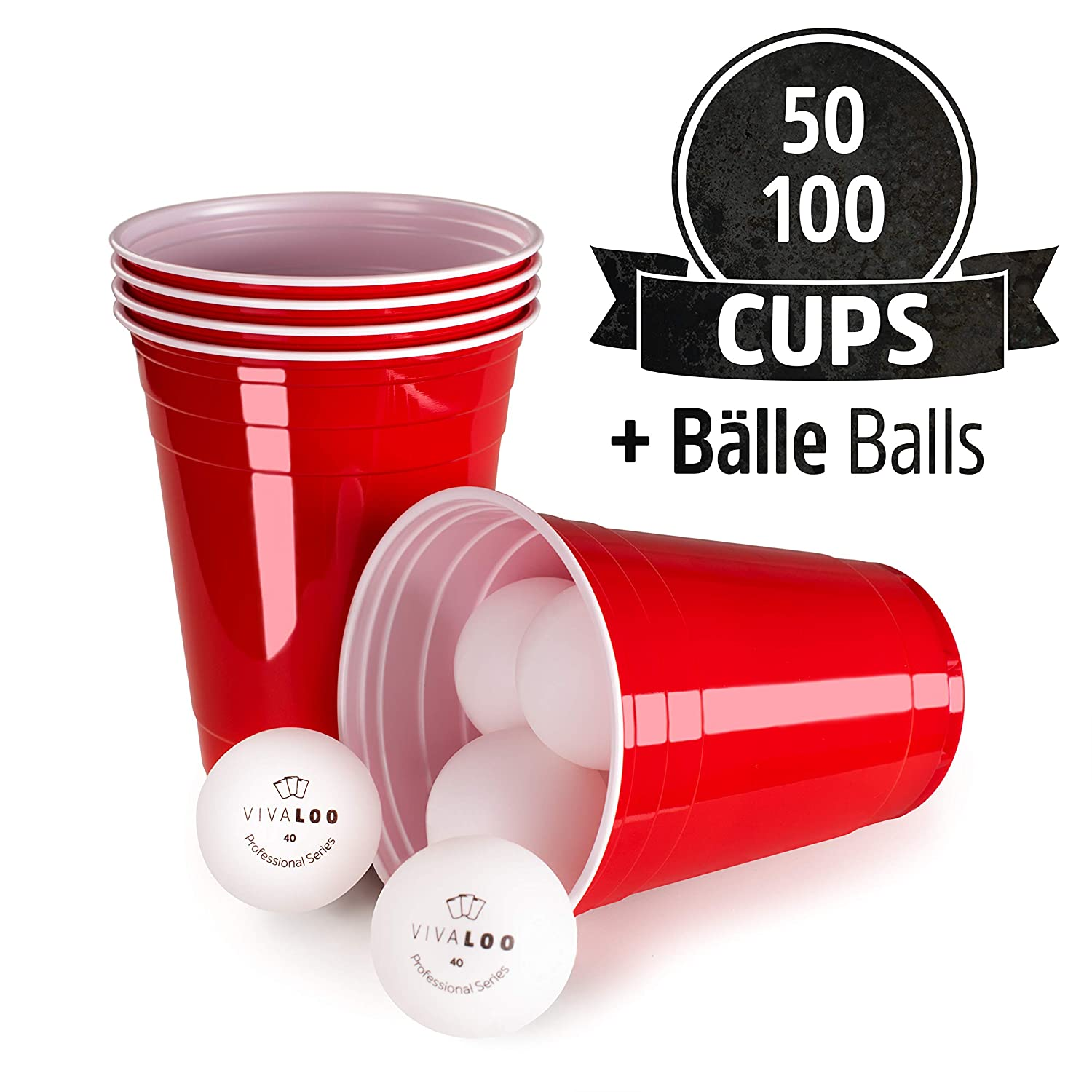 16 oz Pack of 50 Red Cups 50 Cups // 6 Balls VIVALOO Red Disposable Plastic Cups 455 ml 6 Beer Pong Balls