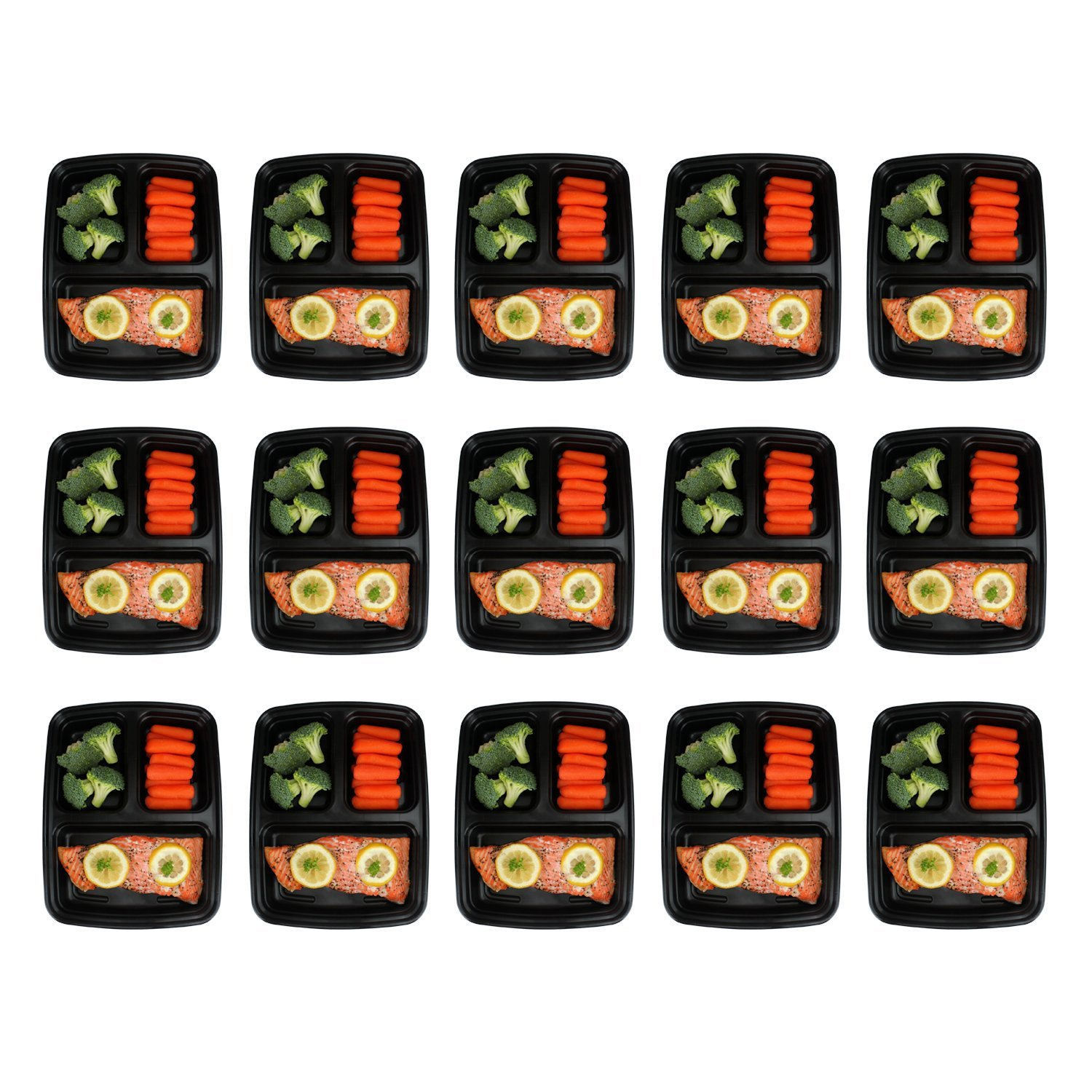 Freshware Meal Prep Containers [15 Pack] 3 Compartment with Lids, Food Containers, Lunch Box | BPA Free | Stackable | Bento Box, Microwave/Dishwasher/Freezer Safe, Portion Control, 21 day fix (32 oz) by Freshware (Image #2)