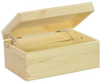 Grinscard Caja de Madera Universal con Tapa para Almacenamiento - Pino Natural FSC sin Tratar -