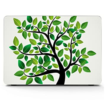 Accessories for MacBook Pro Cartoon Floral Green Leaf Plastic Hard Shell Compatible Mac Air 11 Pro 13 15 MacBook Air A1466 Case Protection for MacBook 2016-2019 Version