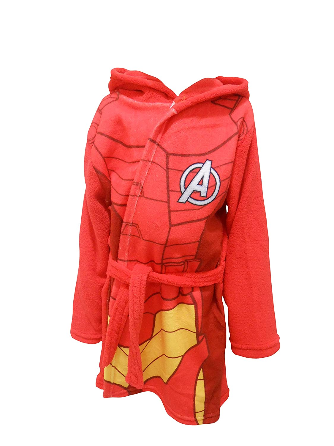 Iron Man Marvel Avengers Kids Hooded Fleece Bathrobe Dressing Gown The Cookie Company