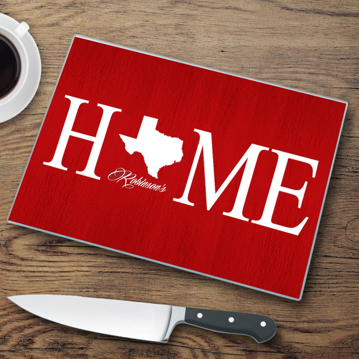 Personalized Home State Glass Cutting Board - Texas