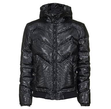 f958d3c0040ce Versace Collection Effet carbone Doudoune à capuche Veste pour homme Noir  Noir Noir
