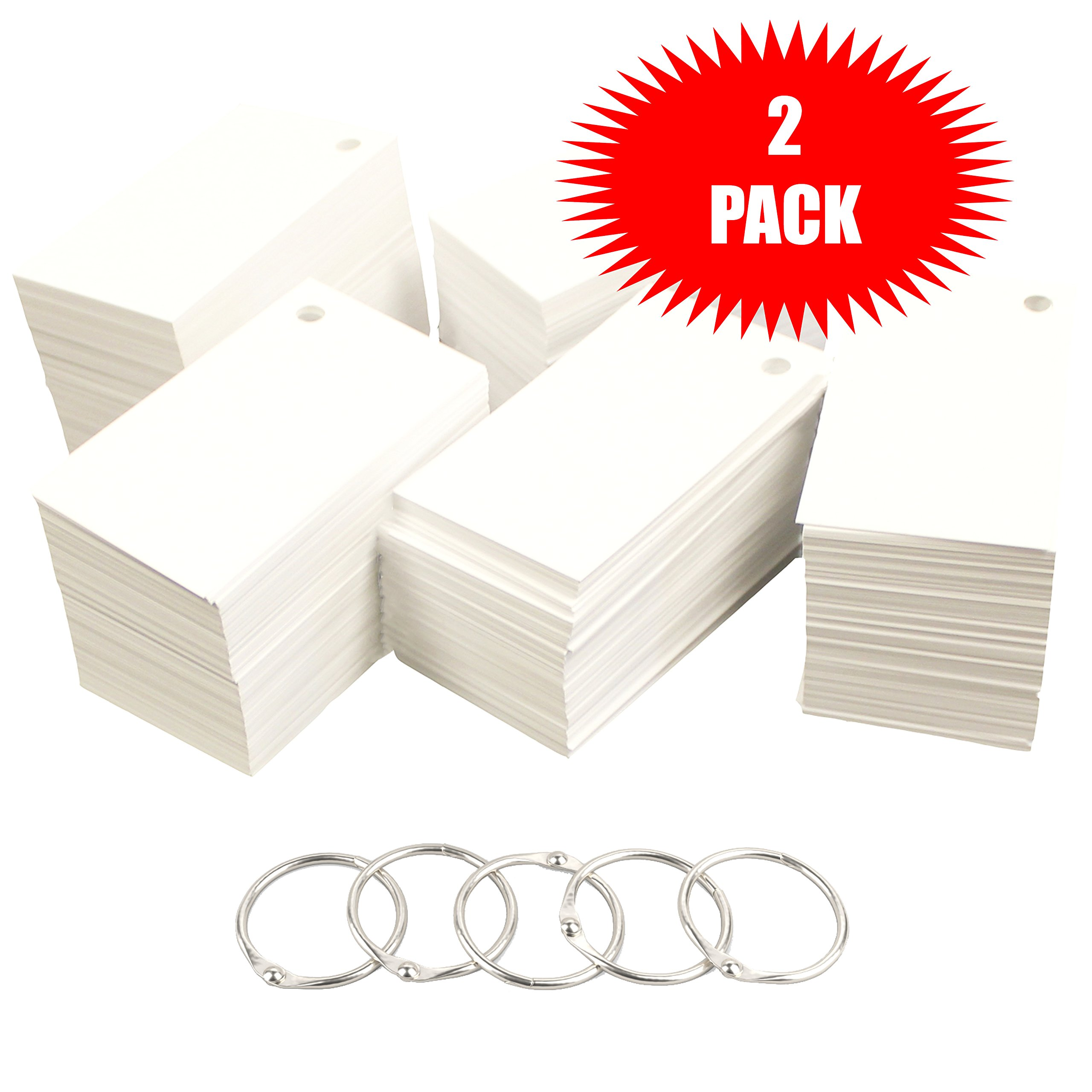 Debra Dale Designs 1,100 Small Blank Study Flash Cards - 110# White Smooth Index - Single Hole Punched with 5 Metal Binder Rings - 2'' x 3-1/2. Best For Learning Languages (2 Pack)