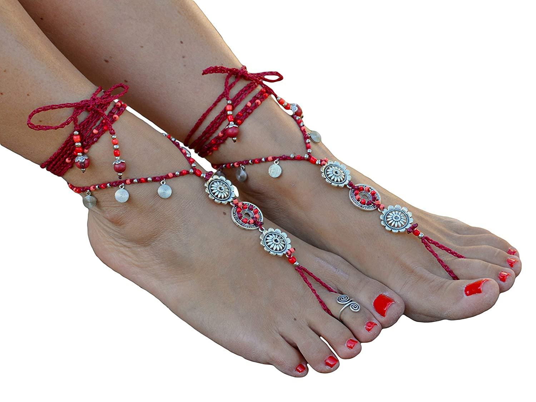 Pano Para Tanto Root Chakra Mandala Barefoot Sandals Boho Foot Jewelry