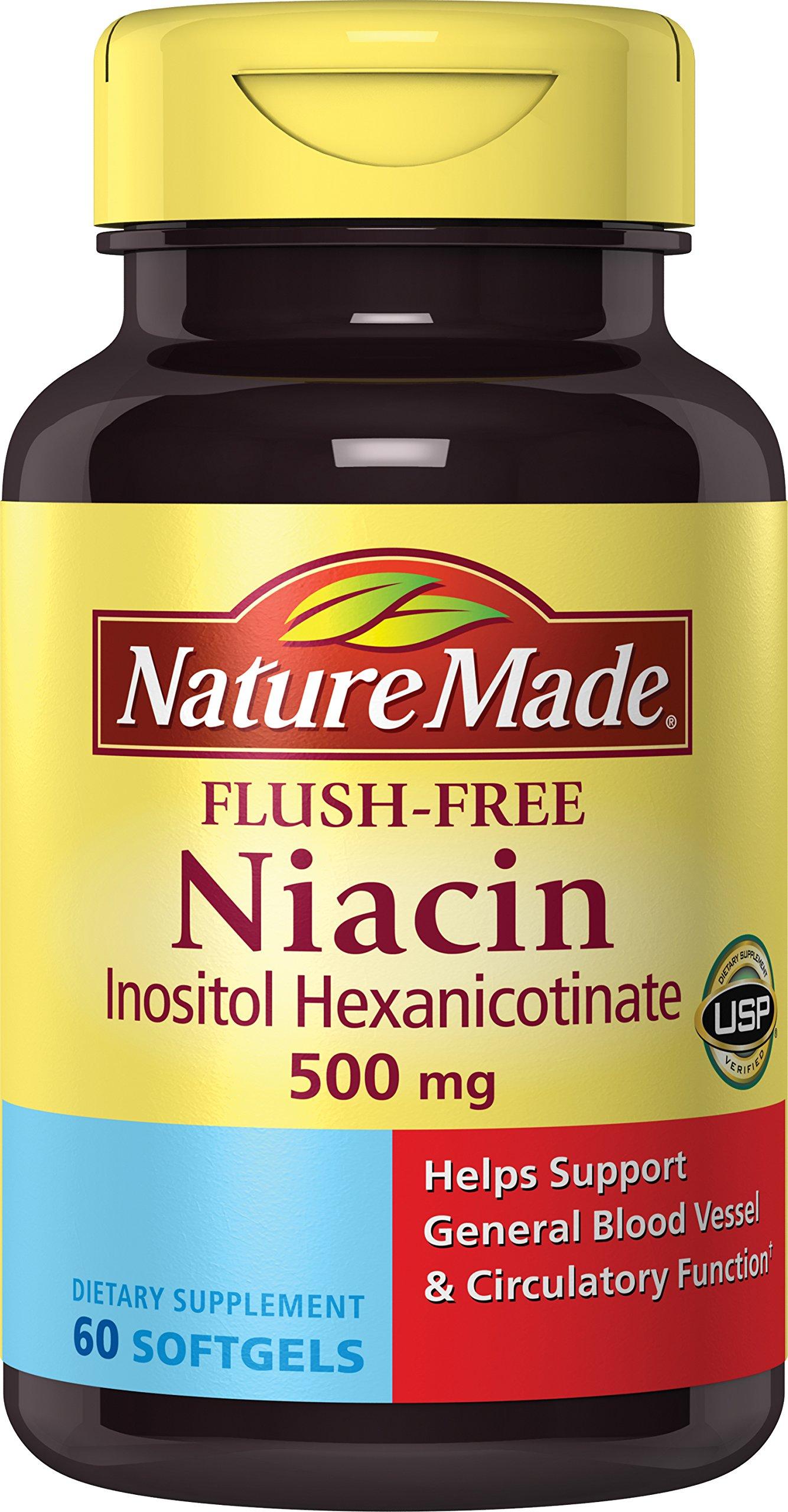 Nature Made Flush-Free Niacin (B3) 500 mg. Softgels 60 Ct