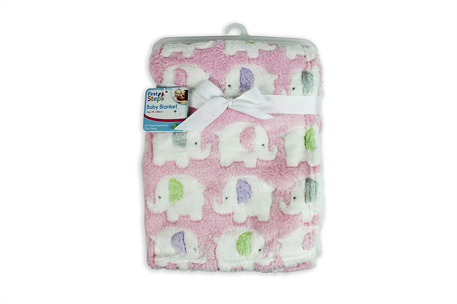 """First Steps"" Luxury Soft Fleece Baby Blanket in Cute Pink Elephant Design 75 x 100cm for Babies from Newborn RSW"