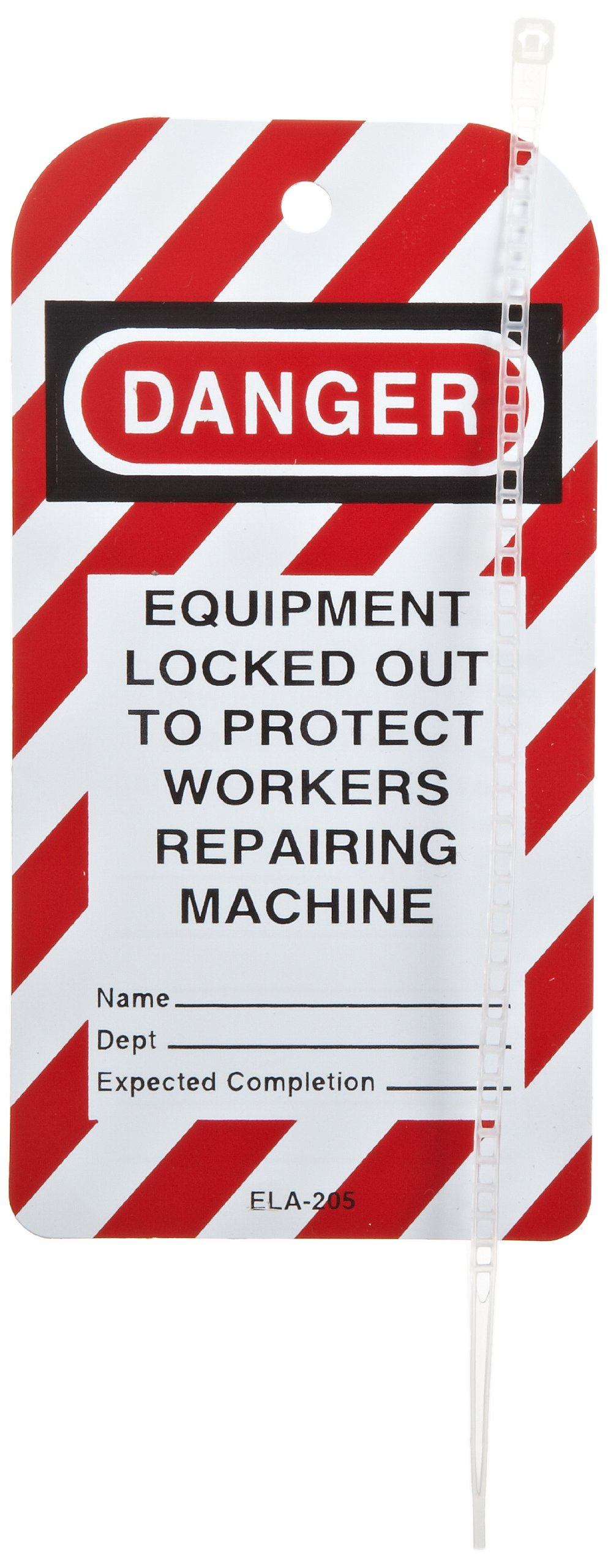 North Safety''Danger - Equipment Locked Out To Protect Workers Repairing Machine'' Styrene Tag with Reverse Side Dismissal Warning, 5-3/4'' Length, 3'' Width