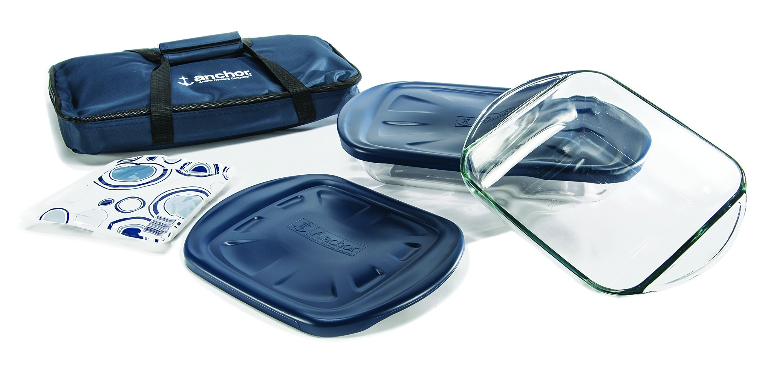 Anchor Hocking 6-Piece Essentials Bake-N-Take Set with Blue Plastic Lid and Blue Tote by Anchor Hocking (Image #3)