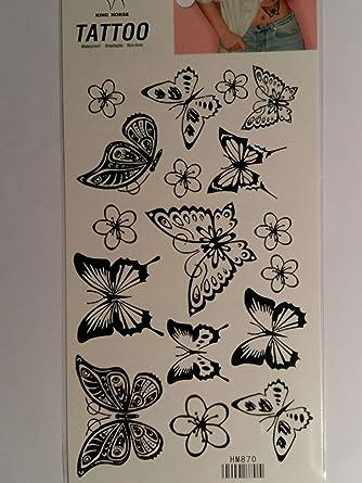 Tattoo Tatuaje temporal de mujer y hombre. Mariposas y flores ...