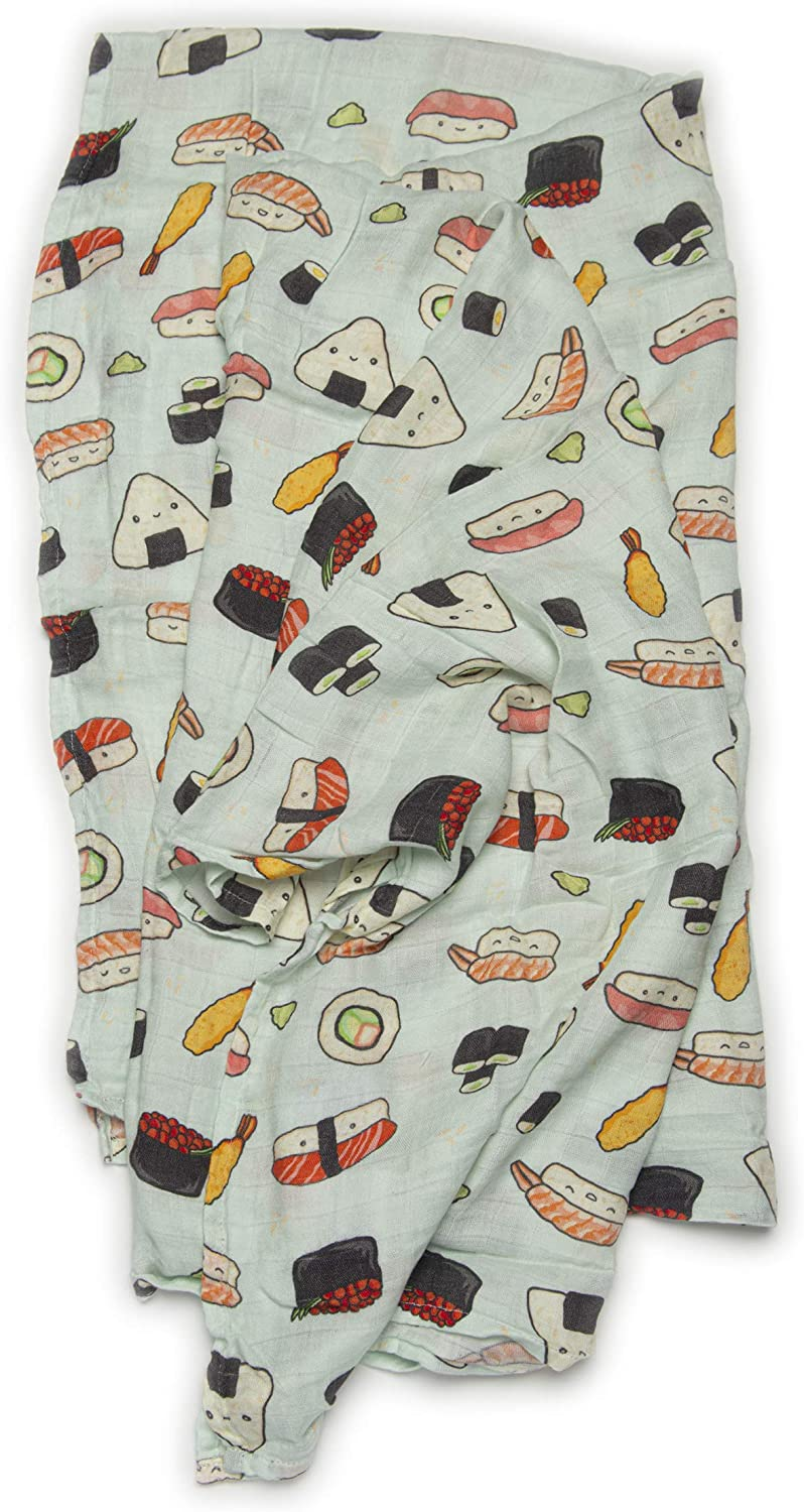 """Loulou Lollipop Soft Baby Swaddle Blanket Muslin Wrap Receiving Blanket for Newborn to Toddler Girl and Boy, Large 47"""" by 47"""" - Sushi"""