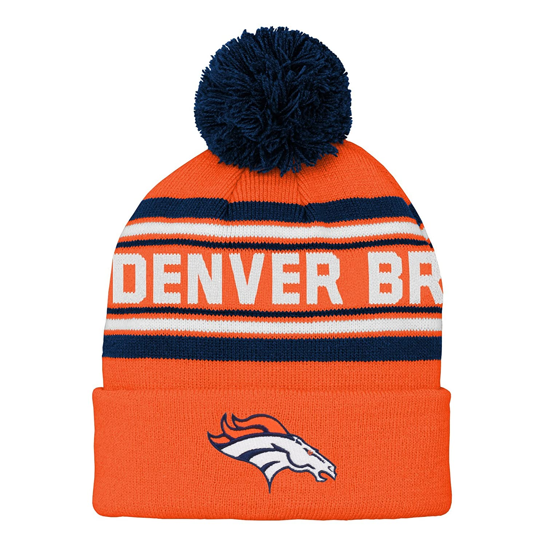 NFL Boys Denver Broncos Kids Youth Boys Jacquard Cuffed Knit Hat with Pom