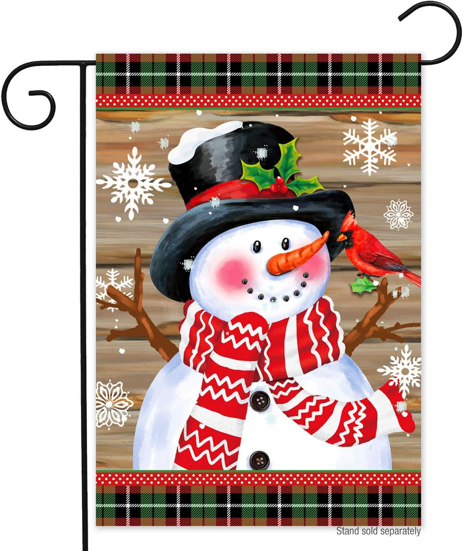 YOZO Merry Christmas Christmas Snowman Garden Flag Double Sided Christmas Decorations 12 x 18 Inch